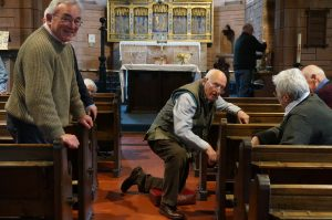 Everyone work hard removing the pews 1st May